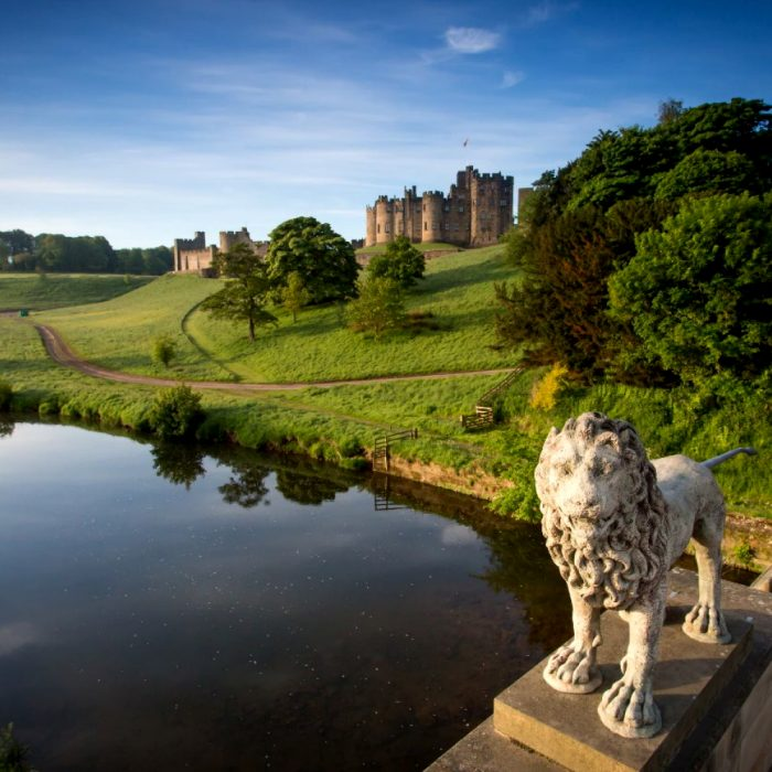 Alnwick Castle, a castle and stately home in Alnwick in the English county of Northumberland.